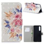For Huawei P30 Light Spot Decor Pattern Printing Wallet Leather Cover – Vivid Flowers