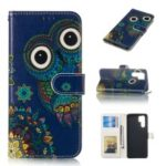 For Huawei P30 Pro Embossed Patterned Leather Wallet Protection Case – Owl
