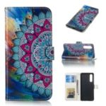 Pattern Printing Embossed Wallet Leather Stand Case for Huawei P30 – Mandala Flower