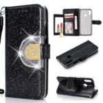 Glitter Powder Rhinestone Decoration Wallet Leather Case with Mirror for Huawei Honor 10 Lite / P Smart (2019) – Black