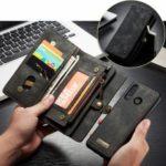 CASEME Multi-functional 2-in-1 Zipper Wallet Split Leather Case for Huawei P30 Lite – Grey