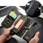CASEME Multi-functional 2-in-1 Zipper Wallet Split Leather Case for Huawei P30 Pro – Grey