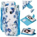 Patterned Leather Stand Protective Cover with Strap for Huawei Honor 10 Lite / P Smart (2019) – Blue Flower and Butterfly