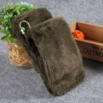 Soft Faux Fur Coated Rhinestone TPU Case for Huawei P30 Lite / nova 4e – Blackish Green
