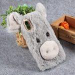 Cute 3D Pig Fluffy Fur Coated Rhinestone TPU Gel Cover for Huawei P30 Lite / nova 4e – Light Grey