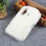 Soft Fur Coated Rhinestone TPU Case for Huawei P30 Lite – White