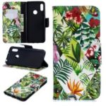 Pattern Printing Light Spot Decor Leather Wallet Case for Huawei Y6 (2019)/Y6 Pro (2019)/Y6 Prime (2019) – Leaves