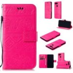 Imprinted Elephant PU Leather Magnetic Mobile Case for Huawei Honor View 20/V20 – Rose