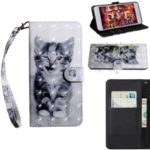 Pattern Printing [Light Spot Decor] Leather Wallet Case for Huawei Y7 (2019) – Cat