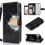 Glitter Powder Rhinestone Decoration Wallet Leather Case with Mirror for Huawei P30 Lite / nova 4e – Black