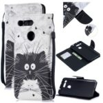 Patterned PU Leather Wallet Shell with Lanyard for Huawei Honor View 20/V20 – Black and White Cats