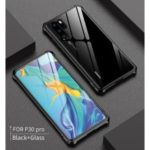 Metal Frame + Glass Back Hybrid Cell Phone Case for Huawei P30 Pro – Black