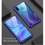 Metal Frame + Glass Back Hybrid Protector Cover for Huawei P30 Lite/nova 4e – Blue