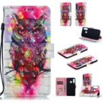 Pattern Printing Light Spot Decor Leather Wallet Case for Huawei P30 Lite – Owl