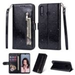 Glitter Powder Zippered Stand Leather Wallet Case with Strap for Huawei P30 Lite / nova 4e – Black