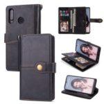 Retro Style PU Leather Wallet Phone Case for Huawei P30 Lite/nova 4e – Black