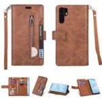 Multi-slot Wallet Zippered Leather Phone Case for Huawei P30 Pro – Brown