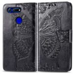 Imprint Butterfly Flower Leather Wallet Stand Phone Cover for Huawei Honor View 20 / V20 (China) – Black