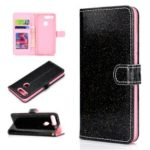 Flash Powder Wallet Stand PU Leather Phone Casing for Huawei Honor View 20/V20 – Black