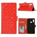 Glossy Stitching Grid Leather Wallet Case for Huawei Honor 10 Lite – Red