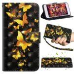 [Light Spot Decor] Patterned Leather Phone Case Accessory for Motorola Moto G7 Power – Gold Butterflies