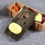 Cute 3D Pig Fluffy Fur Coated Rhinestone TPU Back Case for Motorola Moto G7 Play (EU Version) – Army Green