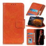Nappa Texture Split Leather Wallet Case Shell for Motorola Moto P40 Power – Orange
