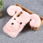 Dog Pattern Fluffy Fur Coated TPU Case for Xiaomi Mi 9 – Pink