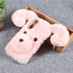 Dog Pattern Fluffy Fur Coated TPU Case for Xiaomi Mi 9 – Pink
