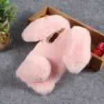Rabbit Shape Fluffy Fur Coated Rhinestone TPU Cover for Xiaomi Mi 9 – Pink