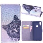 Laser Carving Pattern Printing Wallet Leather Case with Strap for Xiaomi Redmi Note 7 / Redmi Note 7 Pro (India) – Cat