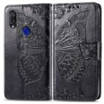 Imprint Butterfly Flower Leather Wallet Stand Phone Cover for Xiaomi Redmi 7 – Black