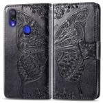 Imprint Butterfly Flower Leather Wallet Stand Cover for Xiaomi Redmi Note 7 / Redmi Note 7 Pro (India) – Black