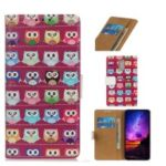 Pattern Printing TPU + PU Leather Phone Cover for Nokia 3.2 – Owls