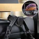 BASEUS Car Rear Seat Headrest Phone Bracket Holder for 4.0-6.5 inch Smartphone – Black