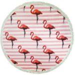 Portable Round Beach Towel Tapestry Fringe Tassel Mat, Diameter: 150cm – Flamingos