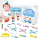 839B Children's Role Playing Toy Simulation Medical Toys Set with Portable Suitcase – Blue
