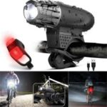 Super Power USB Rechargeable Bicycle Headlight and Tail Light Set