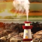 Mini Lighthouse 150ml Air Purifier Humidifier with Night Lamp – Red