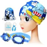 Kids HD Anti-fog Waterproof Swimming Goggles Cap Nose Clip Ear Plugs Set Kit – Blue/Elephant