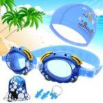 Kids Goggles Swimming Goggles Cap Boys Girls Swimming Pool Set – Blue