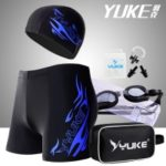 YUKE Men's Jammer Swimsuit Shorts + Swim Goggles + Swimwear Cap + Nose Clip + Ear Plugs Swimming Bag Set – Blue / Size: L