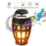 S1 Bluetooth Speaker USB LED Flame Lights Outdoor Portable LED Flame Atmosphere Lamp Stereo Speaker – Black