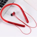 In-ear Neckband Bluetooth 5.0 Earphone with Mic for iPhone Samsung Huawei, etc – Red