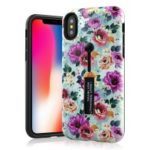 Embossed Flower Botany Pattern Finger Grip Kickstand TPU PC Hybrid Protection Case for iPhone XS Max 6.5 inch – Pattern B
