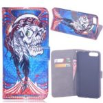 Laser Carving Pattern Printing Wallet Leather Case with Strap for iPhone 8 Plus /  7 Plus 5.5 inch – Tribal Feather Skull