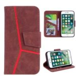 Business Splicing Wallet Stand Leather Cover for iPhone 8 / 7 4.7 inch – Brown
