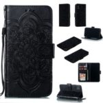 Imprint Mandala Flower Leather Wallet Case Phone Cover for iPhone X/XS – Black