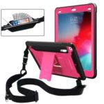 Anti-drop PC + TPU Hybrid Protective Case with Kickstand and Shoulder Strap for iPad 9.7-inch (2018)/(2017) – Pink
