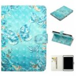Embossment Patterned  Light Spot Decor Leather Cover for iPad mini (2019) 7.9 inch/mini 4 3 2 1 – Blue Butterfly